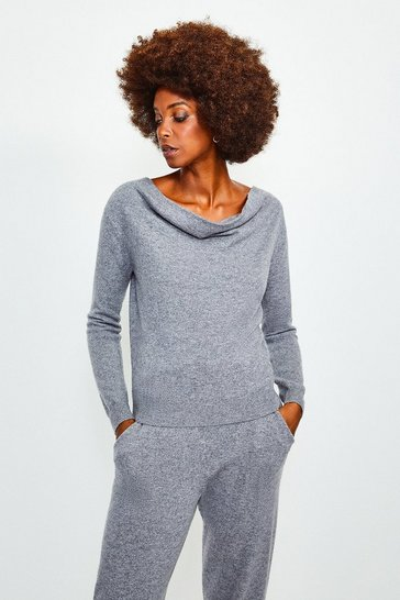 Dark grey Cashmere Cowl Neck Jumper
