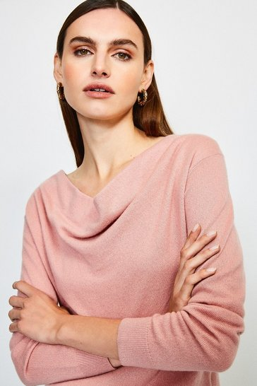 Dusty pink Cashmere Cowl Neck Jumper
