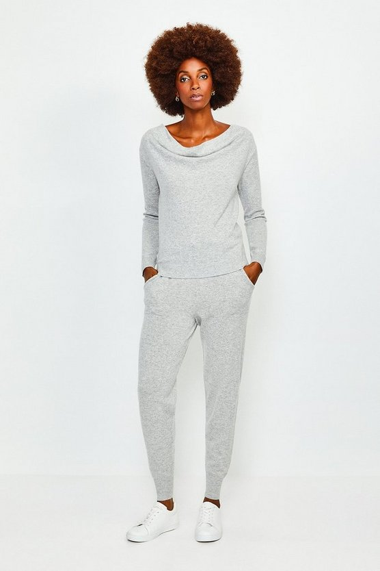 Light grey Cashmere Cowl Neck Jumper