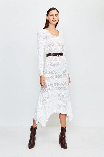 White Pointelle Knitted Dress