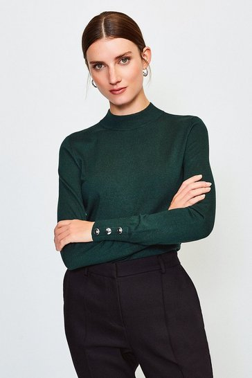 Dark green Button Cuff Funnel Jumper
