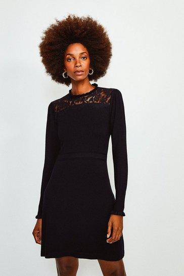 Black Lace Ruffle High Neck Dress