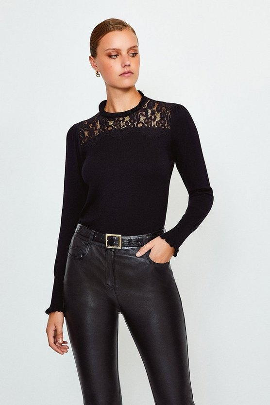 Black Lace High Neck Jumper