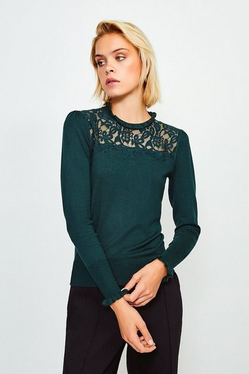 Dark green Lace High Neck Jumper
