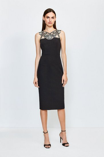 Black Diamante Cutwork Midi Dress