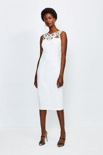 Ivory Diamante Cutwork Midi Dress