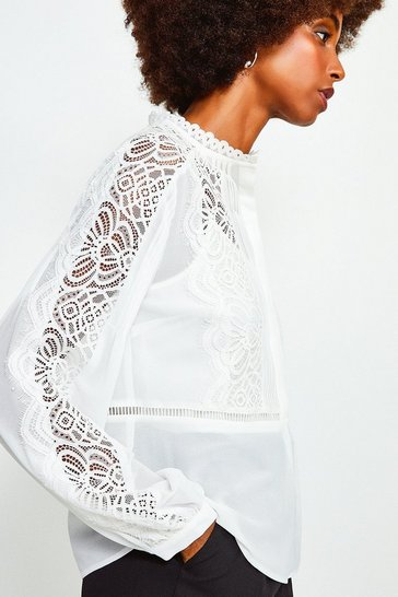Ivory Lace Trim Long Sleeve Top