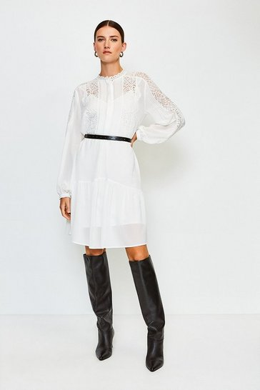 Ivory Lace Trim Belted Dress