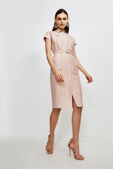 Blush Luxe Stretch Twill Utility Dress