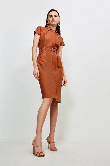 Mocha Luxe Stretch Twill Utility Dress