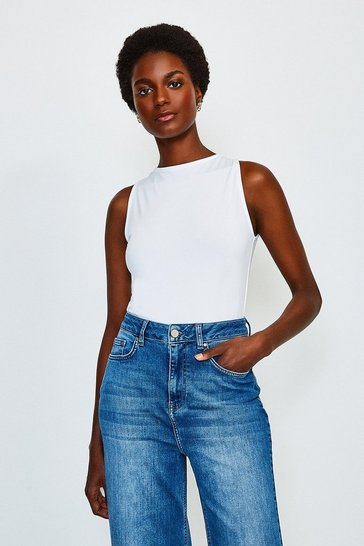 White Microfibre Slash Neck Top