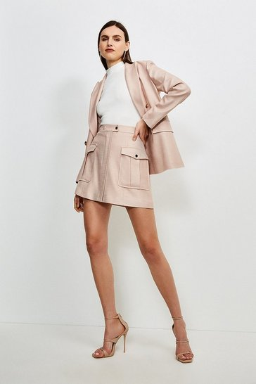 Blush Luxe Stretch Twill Pocket A Line Skirt