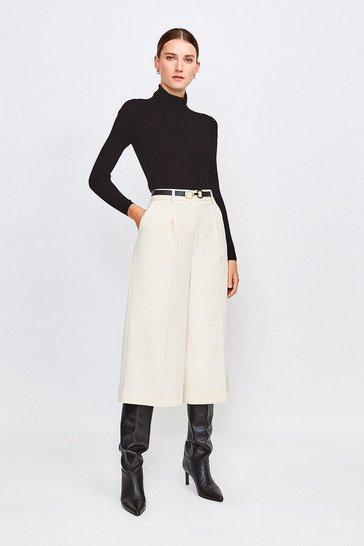 Cream Clean Utility Cropped Wide Tailored Trousers