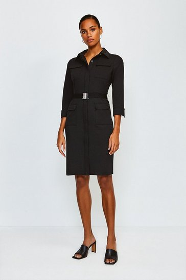 Black Clean Utility Belted Shirt Dress