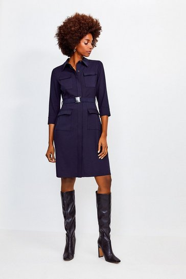 Navy Clean Utility Belted Shirt Dress