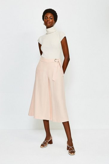 Rose Eyelet Detail Wide Leg Trousers