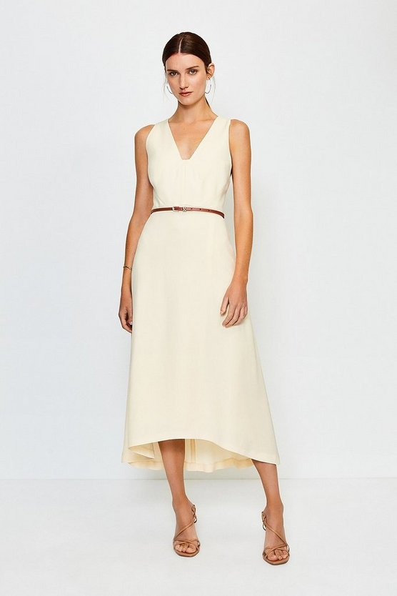 Ivory Plunge Belted Midi Dress