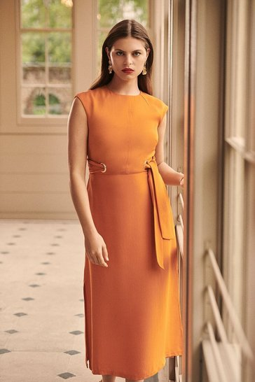 Orange Eyelet Detail Midi Dress