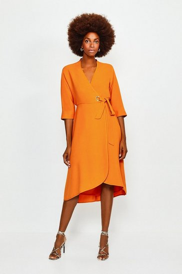 Orange Eyelet Detail Batwing Wrap Dress