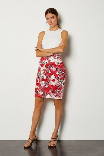 Pink Stretch Cotton Printed Pencil Skirt