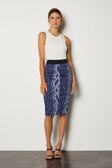 Blue Printed Pencil Skirt