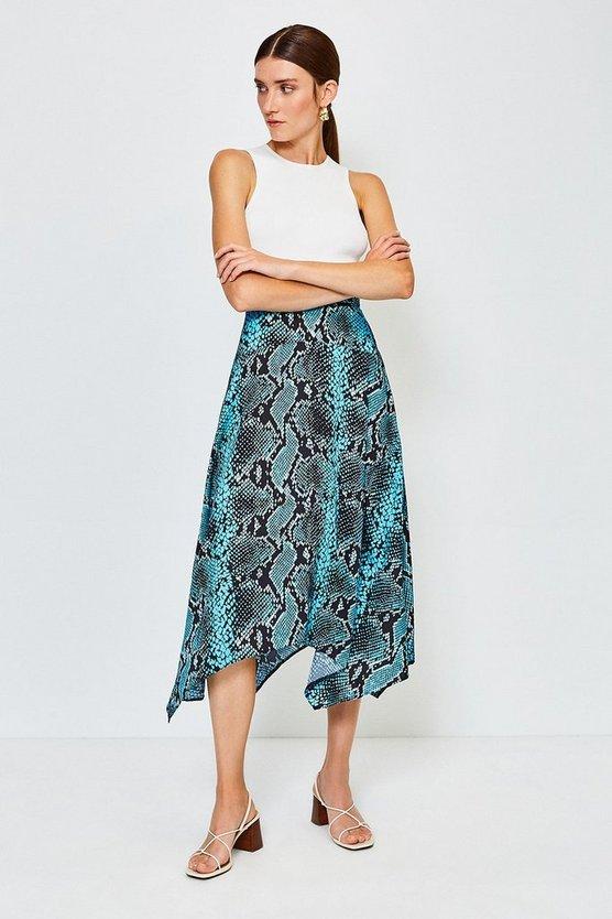 Blue Snake Print Midi Skirt