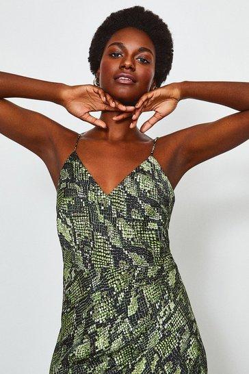Green Snake Print Strappy Wrap Midi Dress