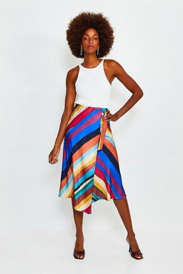 Multi Rainbow Stripe Midi Skirt