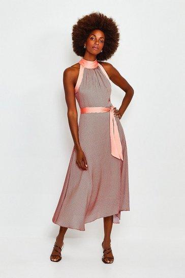 Pink Geo Print High Neck Midi Dress