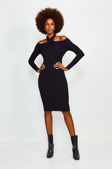 Black Cross Neck Knitted Dress