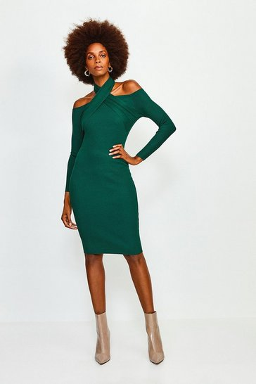 Dark green Cross Neck Knitted Dress