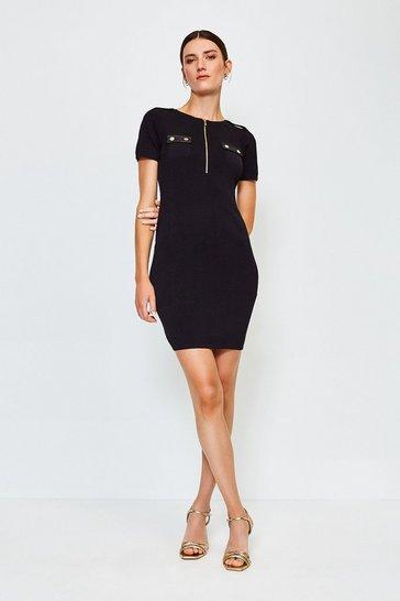 Black Zip Front PU Trim Knitted Dress