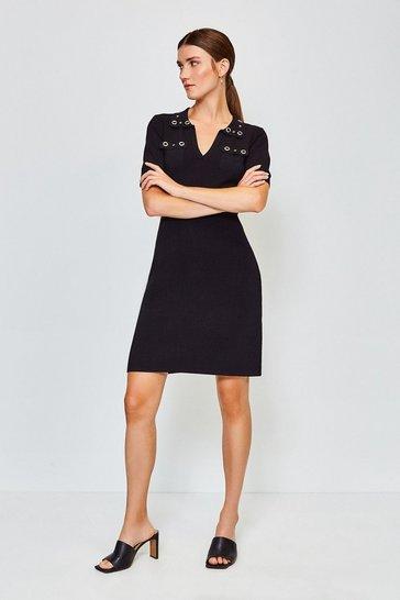 Black Eyelet Collar and Pocket Knitted Dress