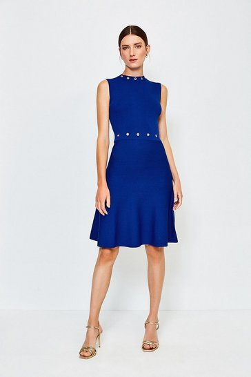 Navy Eyelet Fit and Flare Knitted Dress