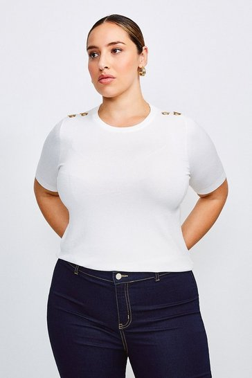 Ivory Curve Short Sleeve Trim Detail Knitted Top