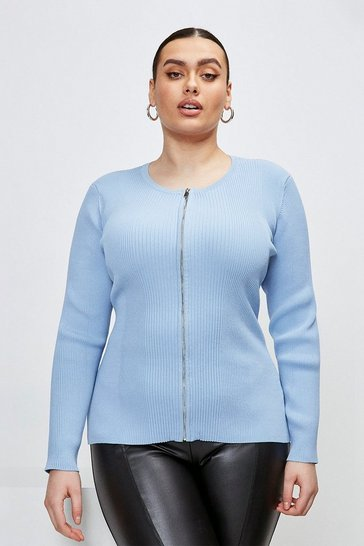 Mid blue Curve Knitted Rib Zip Through Cardigan