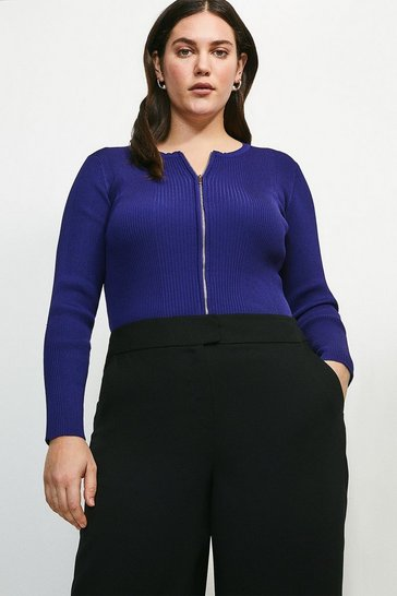 Midnight Curve Knitted Rib Zip Through Cardigan