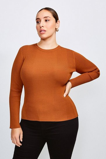 Cashew Curve Knitted Rib Long Sleeve Crew Neck Top