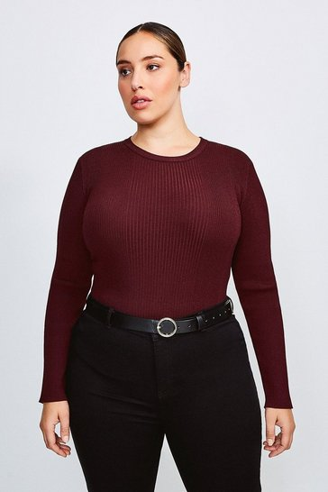 Fig Curve Knitted Rib Long Sleeve Crew Neck Top