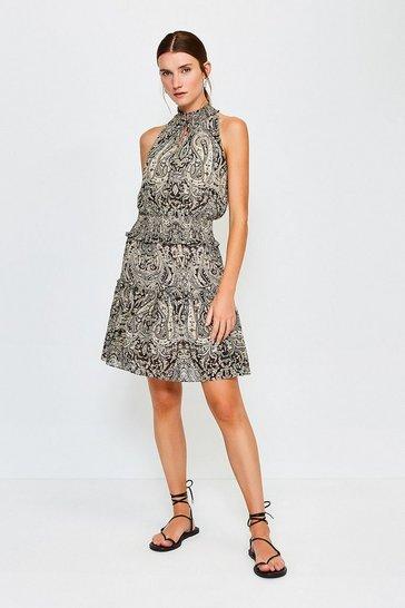 Black Paisley Print High Neck Short Dress