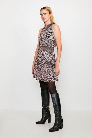 Apricot Printed Halter Shirred Mini Dress