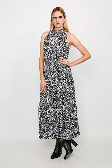 Leopard Printed Halter Shirred Maxi Dress