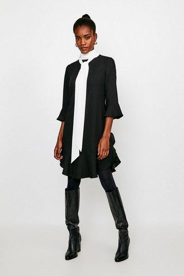 Black TIE NECK VOLUME SLEEVE DRESS
