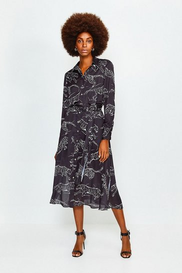 Black Tiger Print Tie Waist Shirt Dress