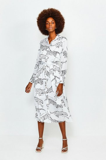 Ivory TIGER PRINT TIE WAIST SHIRT DRESS