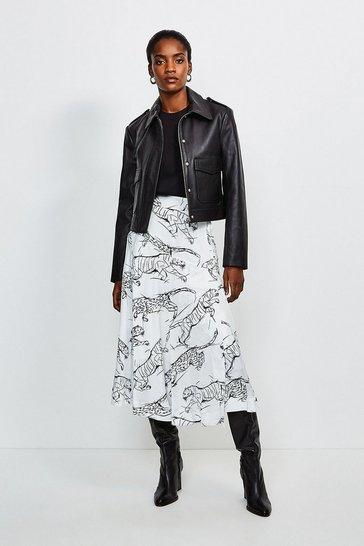 Ivory Tiger Print Midi Skirt