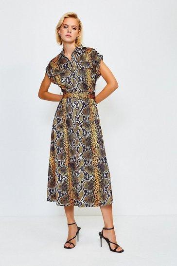Yellow Sleeveless Snake Printed Dress