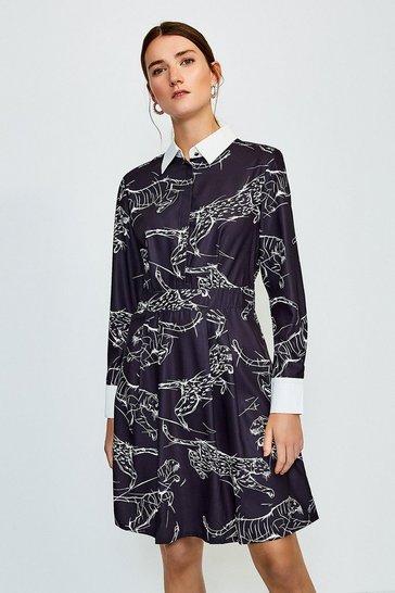 Black Tiger Print Mini Shirt Dress