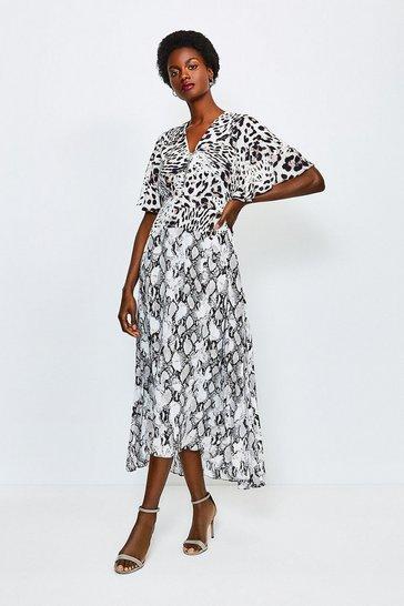 Leopard Animal Printed Mix Midi Dress
