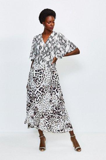 Snake Animal Printed Mix Midi Dress